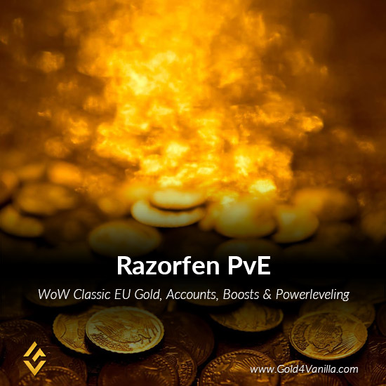 Gold, Power Leveling, Boosts, PvP, Quests and Achievements for Razorfen PvE EU Realm - Medium PoP